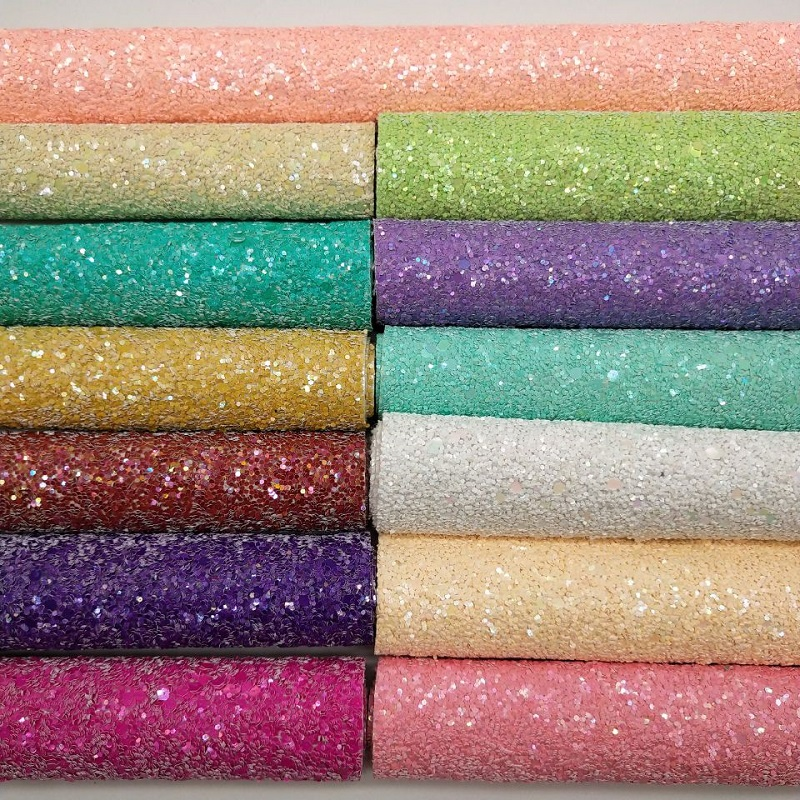 MQ206 30X134cm Chunky Glitter Leather  Glitter Fabric For Making Bows Shoes Handbags And Wallpaper Party Decoration