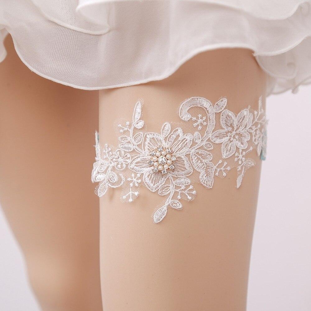 Wedding Garter Rhinestone Beading White Embroidery Floral