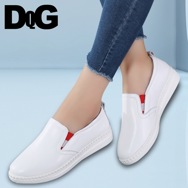 DQG 2018 Spring Women Shoes Casual Flats Zapatos Mujer Split Leather Solid Slip On Loafers Female Shoes Shallow Chaussures Femme cresfimix zapatos women cute flat shoes lady spring and summer pu leather flats female casual soft comfortable slip on shoes