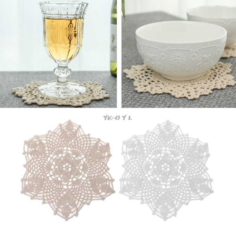 Cotton Mat Hand Crocheted Lace Doilies Flower Shape Coasters Cup Mug Pads