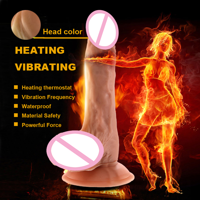 Huge Heating Dildo Realistic Vibrator Heated Big Penis Silicone Adult Sex Toys For Woman Sex Products Shop Juguetes Sexuales dia 400mm 900w 120v 3m ntc 100k round tank silicone heater huge 3d printer build plate heated bed electric heating plate element