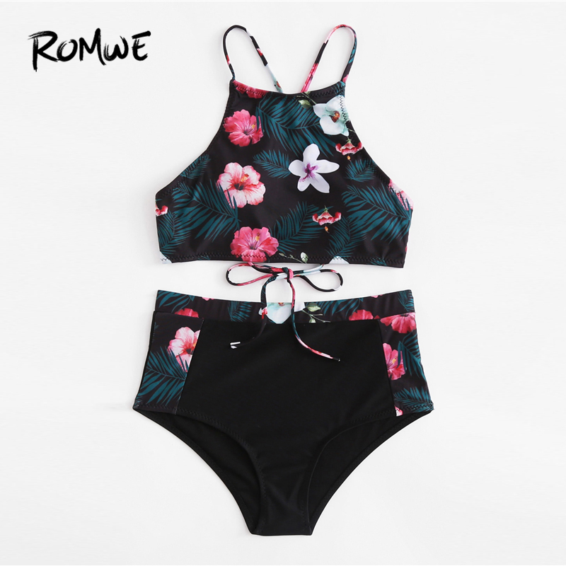Romwe Sport Self Tie Flower Print High Waist Women Bikini Set 2018 Floral  Beach Bikinis New Arrivals Sexy Girls Bikinis-in Body Suits from Sports ... aa4e98acb052