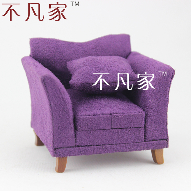Lovely DOLLHOUSE 1/12 SCALE MINIATURE FURNITURE HAND MADE PURPLE ARMCHAIR