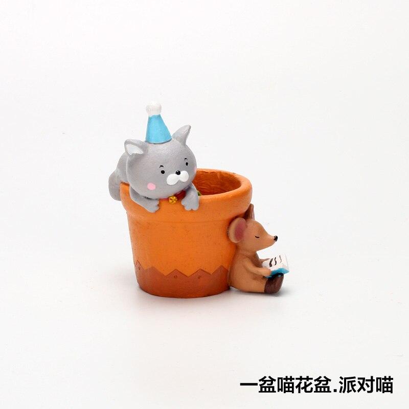 Roogo Мини цветочный горшок с мультяшным котом миниатюрные дизайнерские