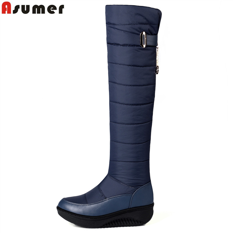ASUMER 2018 New fashion wedges thigh high boots platform shoes over the knee snow boots solid wintr warm long botas ladies shoes odetina warm cotton snow boots black over the knee long boots womens thigh high boots waterproof fashion ladies winter shoes
