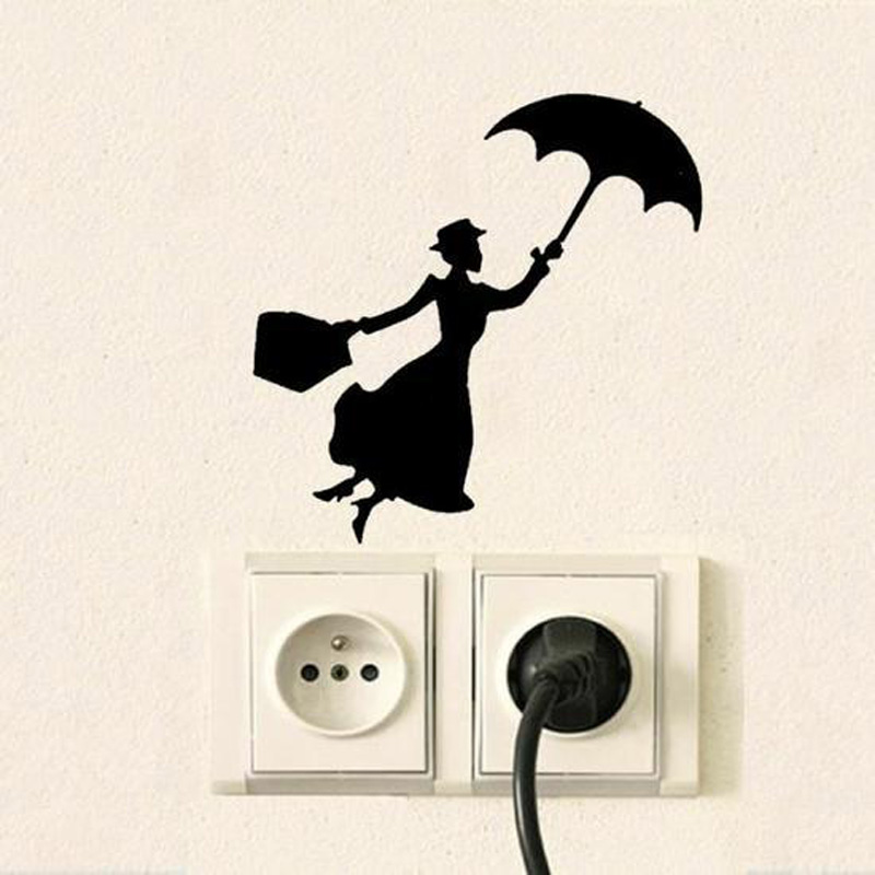 Creative Woman Holding Umbrella Switch Wall Stickers For Home Decor Vinyl Living Room Background  Decals Individuality Stickers