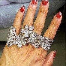 Çarpıcı çiçek yüzük 925 ayar gümüş 5A zirkon Cz nişan düğün band yüzük kadınlar için gelin lüks parmak takı hediye