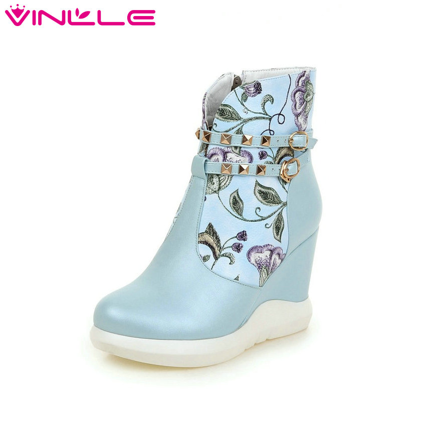 VINLLE 2016 Women Ankle Boots Ladies Wedges High Heel Printing Leather Autumn Shoes Elegant Women Fashion