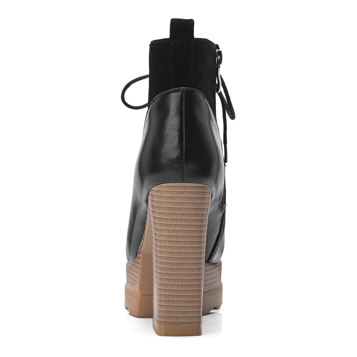 Bottes gris Esrfiyfe Éclair Microfibre Épais Plate forme Cheville La Chaussures Laçage À Apricot Femmes Fermeture Designers Nouvelle Talons 2018 De noir Marque Automne Hiver Haute Tlc3FK1J