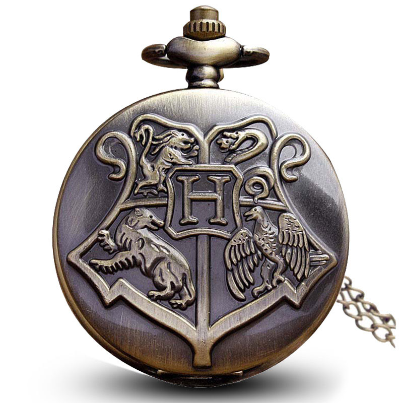 цена на Vintage Harry Potter Hogwarts Pocket Watch Necklace Bronze Cute Fob Chain Clock Pendant For Children Boys Potter Fans' Gift