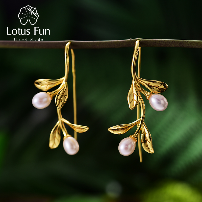 Lotus Fun Real 925 Sterling Silver Natural Pearl Earrings Fine Jewelry Waterdrops from the Olive Leaves Drop Earrings for Women