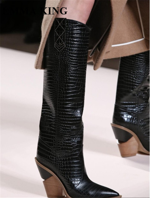 54e0dd2e5f5c EMMA KING New Brand Design Snake Print Horse Heel Knee-High Boots Women Sexy  Slip-On Pointy Toe Stage Dress Party Women Booties