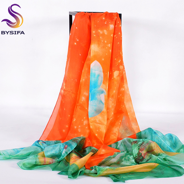 [BYSIFA] Green Orange Woman Beach Shawl Scarves Winter Super Large Size 100% Pure Silk Long Scarf Spring Autumn Stars Scarf Cape