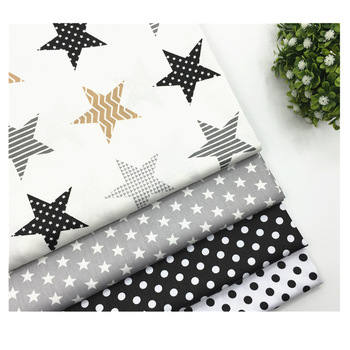 Star Print 100%Cotton Fabric Grey Patchwork Fabrics for Sewing Curtain Baby
