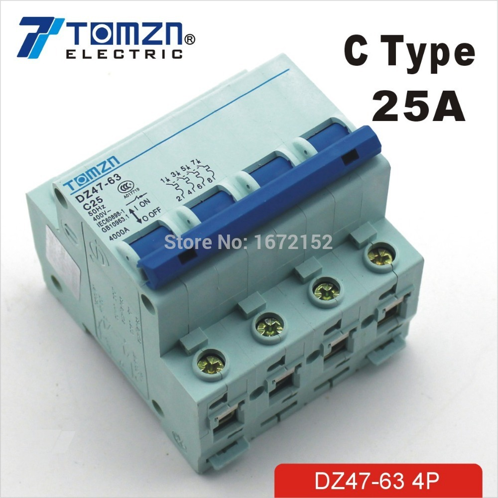 4P 25A 240V/415V Circuit breaker MCB C TYPE 4 Poles