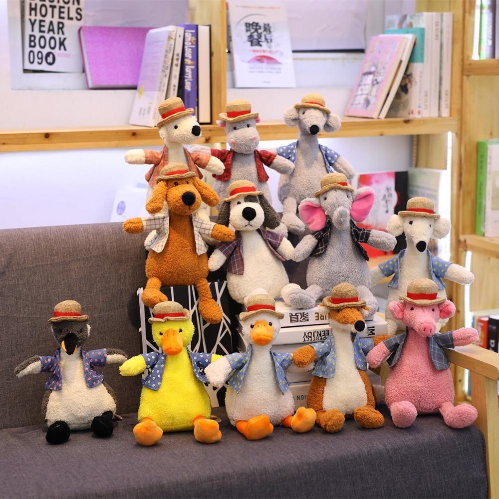 1pc 30 centímetros Kawaii Animais com Chapéu de Pelúcia Bonito Pato Porco Raposa Elefante Hipopótamo Cão Brinquedos de Pelúcia para As Crianças presente de Natal dos miúdos Dolll
