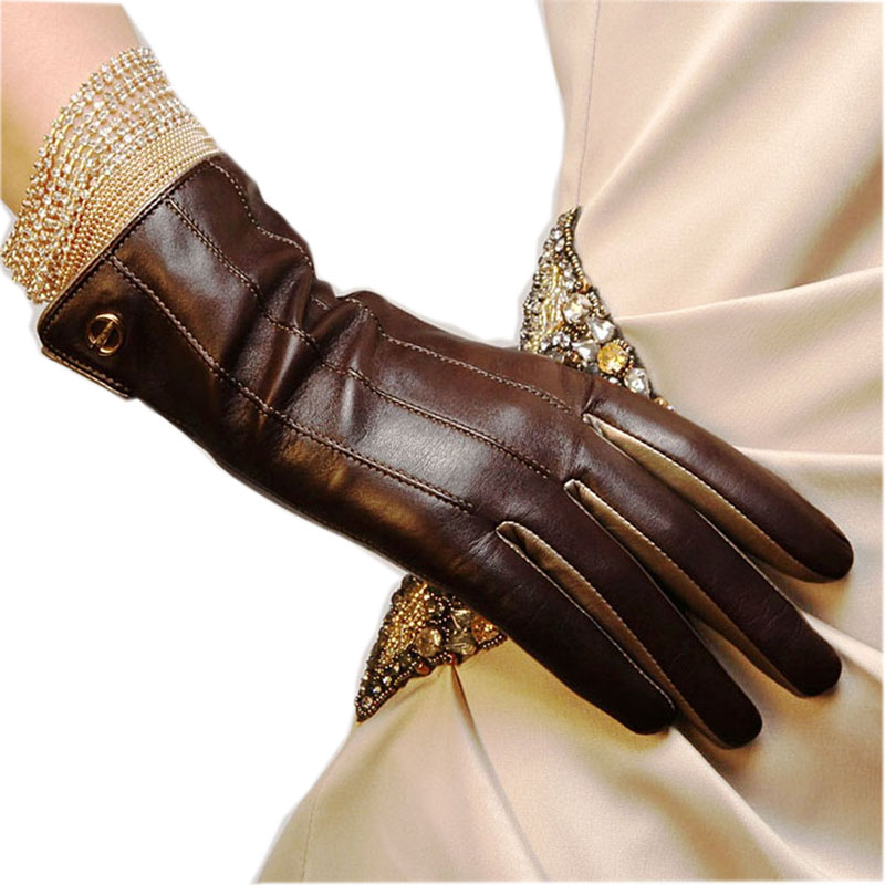 Winter Top Quality Women Gloves Wrist Short Genuine Leather Glove Female Thermal Sheepskin For Driving Free