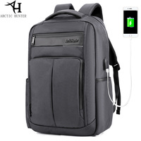 ARCTIC HUNTER USB Charger Backpack Men And Women Waterproof Nylon PU Backpacks Business Casual Travel Backpack