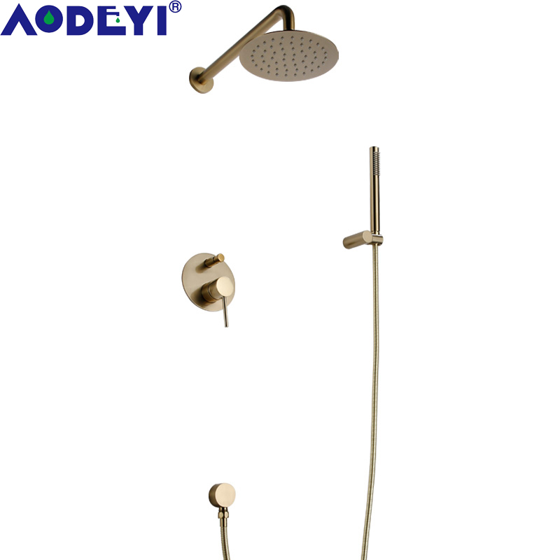 AODEYI Brass Concealed Shower Set Hot Cold Mixer Tap 10 12 inch Shower Head with Hand Held Kit, Brushed Gold or Black, 16-010AODEYI Brass Concealed Shower Set Hot Cold Mixer Tap 10 12 inch Shower Head with Hand Held Kit, Brushed Gold or Black, 16-010
