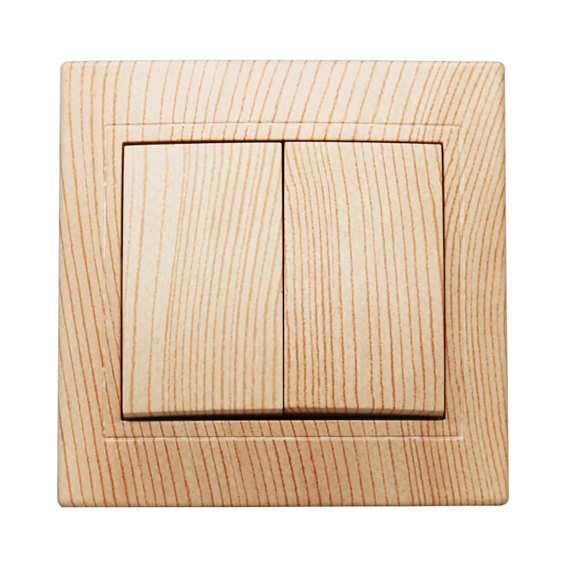 Light switch 2019 New design EU Standard Wall Switch wood color, 2 Gang 1 Way Switch LZ-02 1