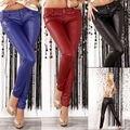 Moda Para Mujer de Estiramiento de Cintura Alta Pantalones Lápiz de LA PU Leggings Pantalones de Cuero del REINO UNIDO