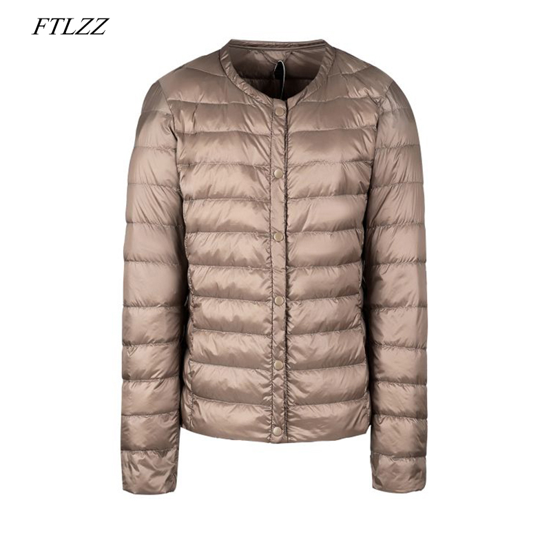 FTLZZ New Plus Size Ultra Light White Duck Down Jacket Winter Women Short Coat Slim Casual Down Coats Female Warm Parka