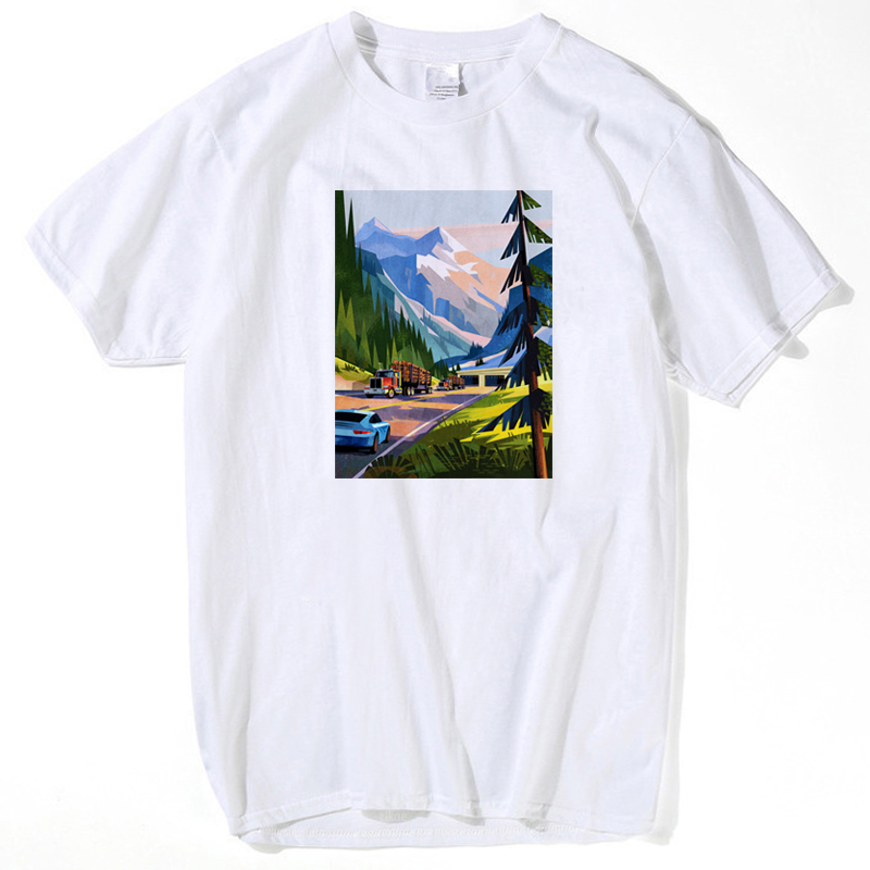 CANADA t shirt nation flag Sled beach farm car mountain forest snow scenery pool railway funny men t shirt 2018