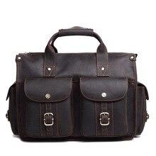 NEWEEKEND Retro Genuine Leather Crazy Horse 15 Inch Cowhide Crossbody Messenger Handbag Briefcase Portfolio laptop Bag for Man