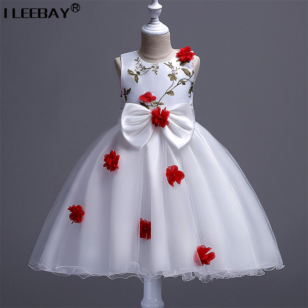 High Quality Flower Girl Lace Princess Dress Vestidos Bow Flowers Children Pageant Gowns Kids Wedding Party Costume Robe Fille brand high quality multi layers formal party girl dress children white princess flower girl vestidos 2016 kids clothes akf164027