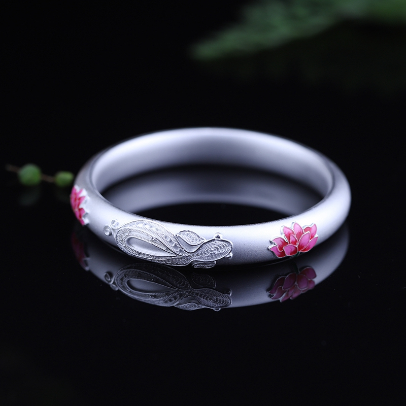 925 sterling silver enamel lotus bangles 38g Semi-hollow Frosted simple design wild bangles for women charms lucky fine jewelry elsker 38g