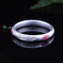 925 sterling silver emalj lotus bangles 38g Halvhålad frostat enkel design vilda armband för kvinnor charmar lyckliga fina smycken