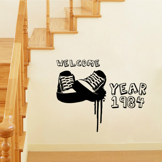 Aw9175 shoes carved wall stickers wholesale stickers custom living room bedroom decor wall removable waterproof