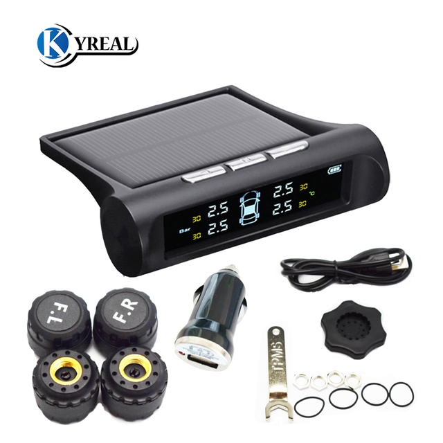 Car TPMS Solar Wireless Tire Pressure Alarm 4 External Sensor Energy Display LCD Screen Car Alarm System Car Electronics