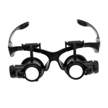 10X 15X 20X 25X Lupa Binocular Gafas Lupa lupa con Luz LED para Joyería Appraisal Reparación de Relojes