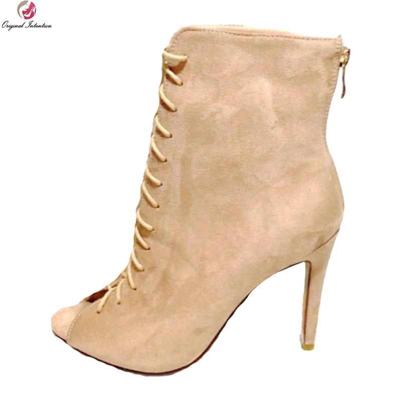 Original Intention Super Elegant Women Ankle Boots Stylish Peep Toe Thin Heels Boots Nice Beige Shoes Woman Plus US Size 4-15 цены онлайн