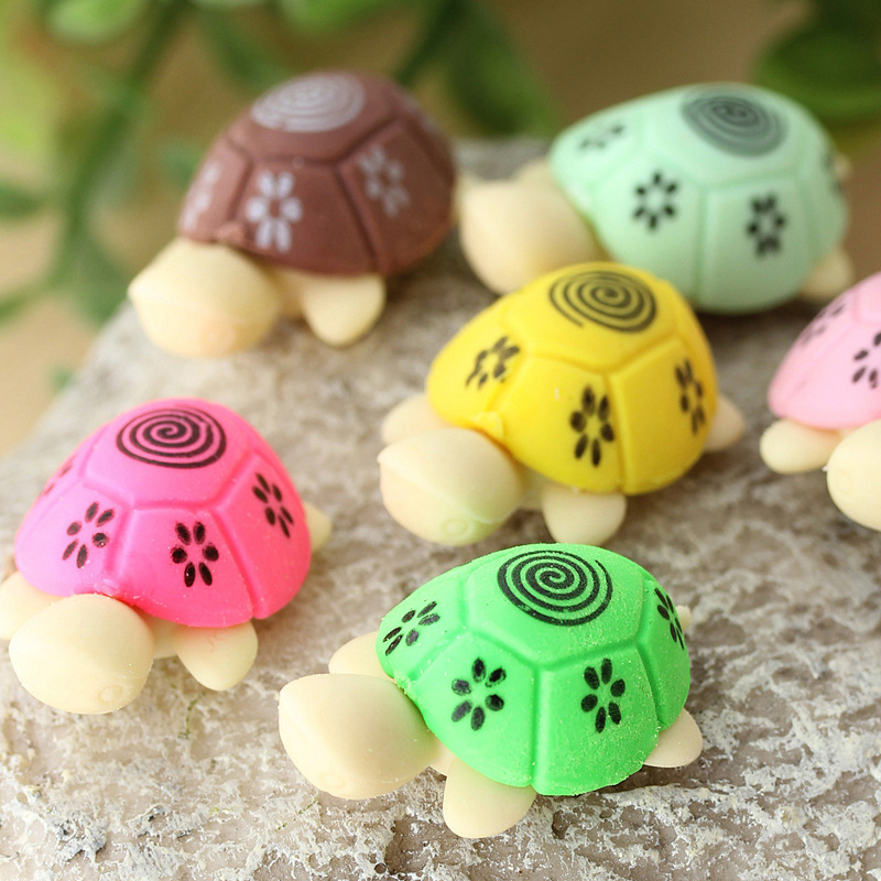 Material Escolar 2pcs 1pair Hot Sale Cute Turtle Rubber Pencil Eraser Set Various Color Stationery Student Rewards K6188
