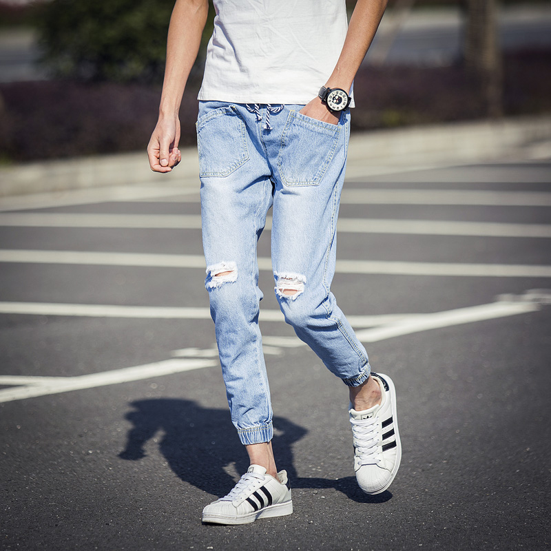 fa37795d2e71 2016 Men Jeans Pant Blue Knee Hole Front Pockets Denim Ankle Length Pants  Male Korean Slim Casual Drawstring Mens Joggers Pant-in Jeans from Men s  Clothing ...