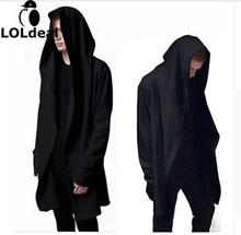 Highest quality Men's Hooded With Black Gown Hip Hop Mantle Men Hoodies and Sweatshirts long Sleeves Cloak Coats Outwear