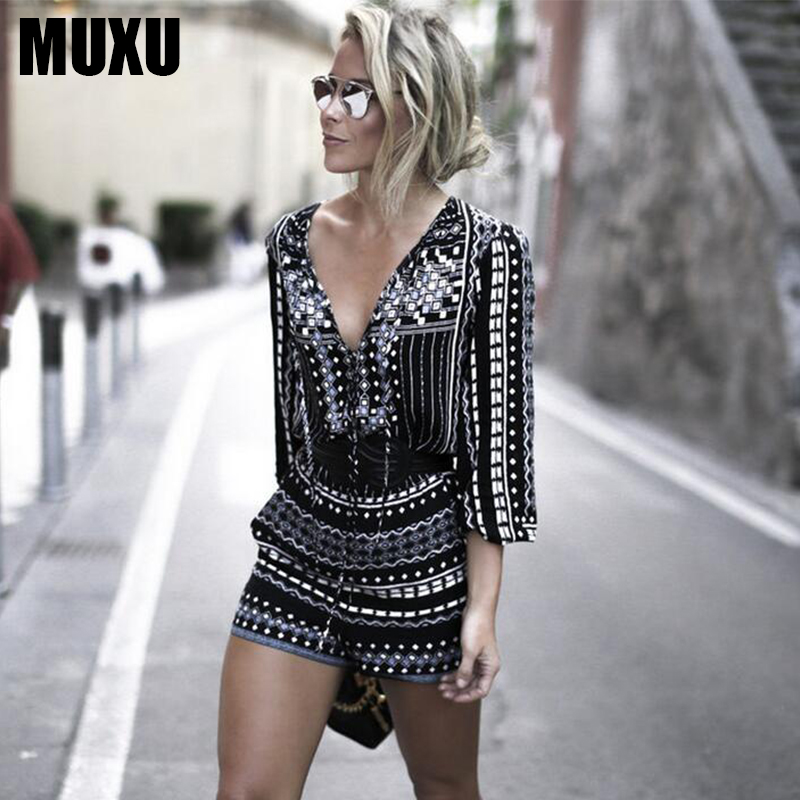 MUXU v neck summer jumpsuit combinaison femme combishort shorts women jumpsuits shorts long sleeve streetwear womens clothing