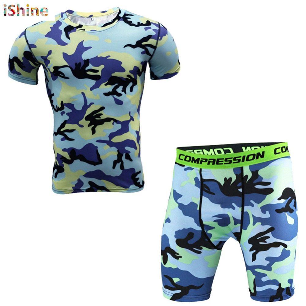 Men Camouflage Sets Bodybuilding Short Sleeve T Shirt + Shorts Tracksuit Crossfit Tights Compression Pants Suit Camo Sportwear
