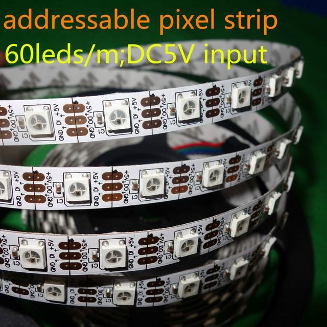 addressable 4m 60LEDs/m DC5V SK6812 led pixel strip,NON-waterproof,with 60pixels/M;WHITE PCB