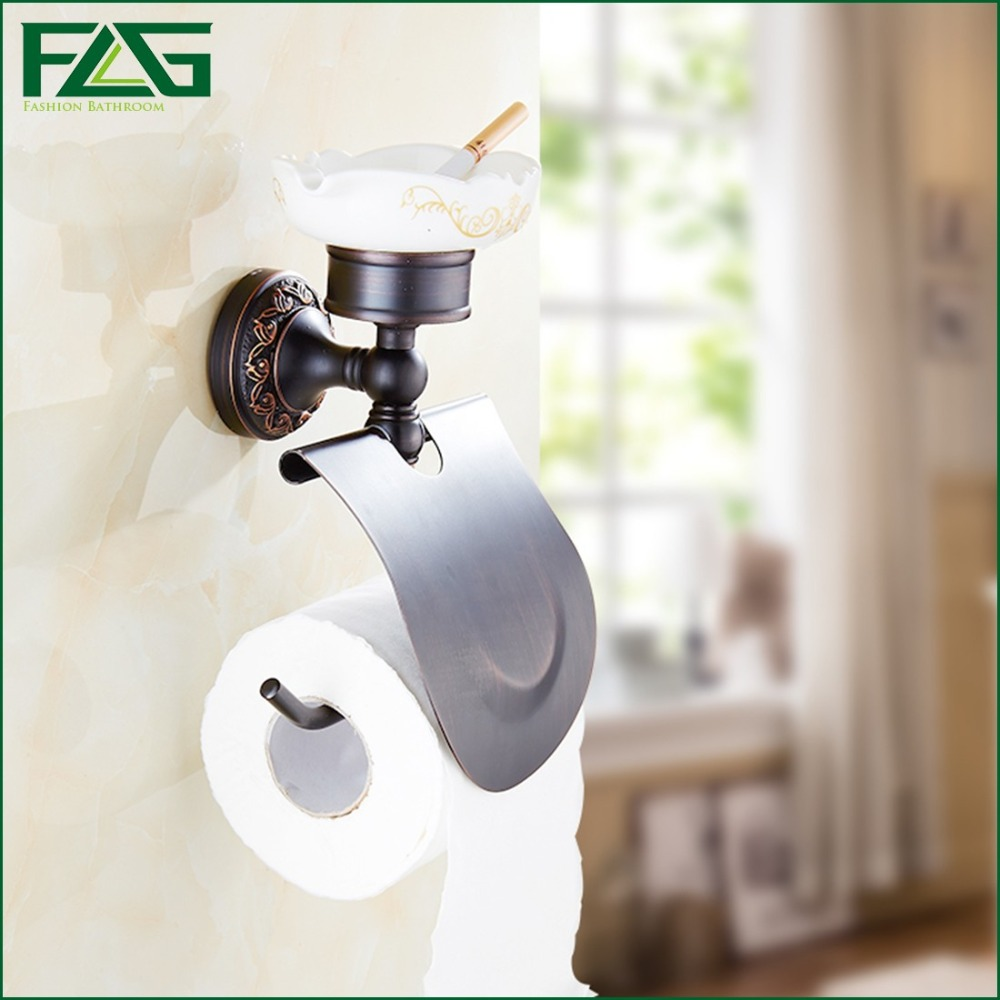 FLG Toilet Paper Holder&Soap Dish Oil Rubbed Bronze Black Roll Holder Tissue Holder Wall Solid Brass Bathroom Accessories 91306 oil rubbed bronze toilet paper holder wall mount tissue box