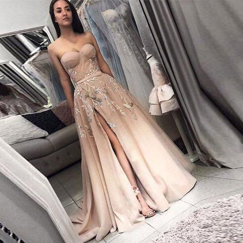 Champagne   Evening     Dresses   2019 Sweetheart A-Line Slit Appliques Satin Dubai Saudi Arabic Long Elegant   Evening   Gown Prom   Dress