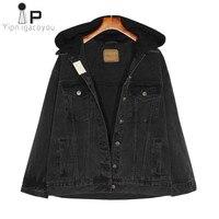 Harajuku Denim Jacket Women Denim Coat Korean adies Autumn Hooded Black Jeans Jacket Women Clothes Vintage Casual Female Tops