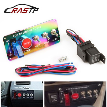 RASTP-Gratis Verzending Racing 12 V Racing Ignition Toggle Switch Panel Motor Startknop Neo Chrome RS-BOV004