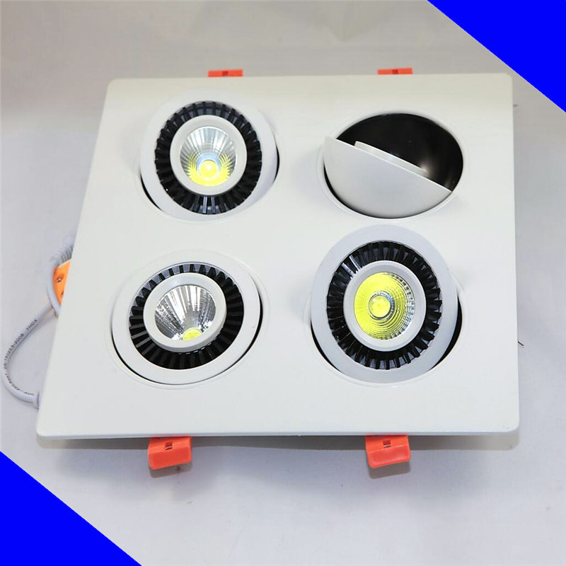 Wholesale Square COB 4*10W Dimmable LED Ceiling Down light Recessed LED Downlight 360 degree rotation AC85-265V