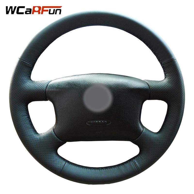 WCaRFun cousu Main Noir En Cuir Auto Couverture De Volant de Voiture pour Volkswagen Skoda Octavia 1999-2005 Passat B5 VW Golf 4