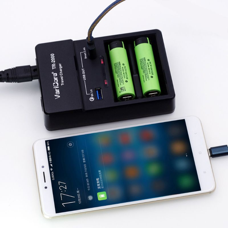 Universal Battery Charger QC 3.0 Dual USB Fast Charger for Smartphone Tablet 18650 26650 18350 16340,14500,10440 AA AAA Lithium