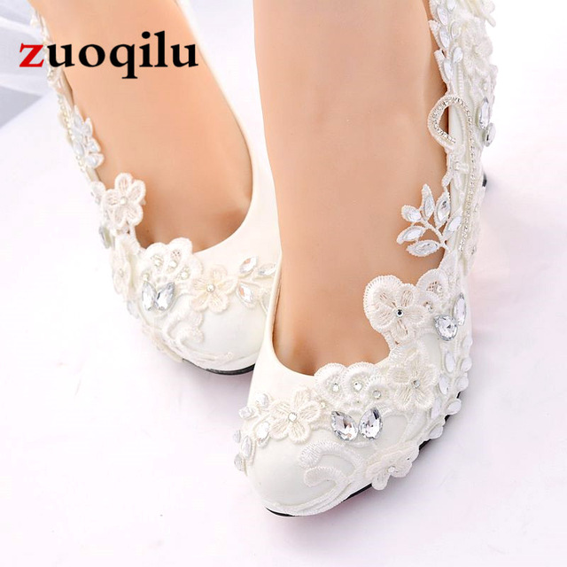 White Wedding Shoes Bride Female High Heels Shoes woman 2019 Crystal diamond party shoes pumps women shoes zapatos tacon mujer