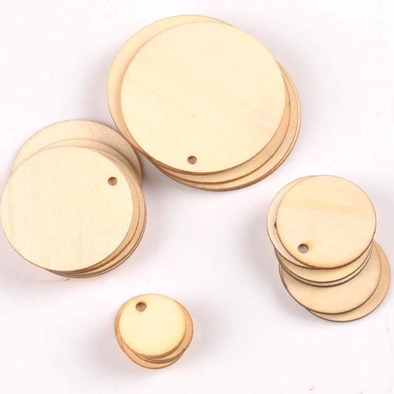 50pcs Mix Round Shape Natural Wooden Ornament For Scrapbooking DIY Wood Carfts One Hole Handmade Accessory Home Decoration M2149